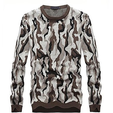 Men's Round Collar Personality Camouflage Pattern Long Sleeve Sweater