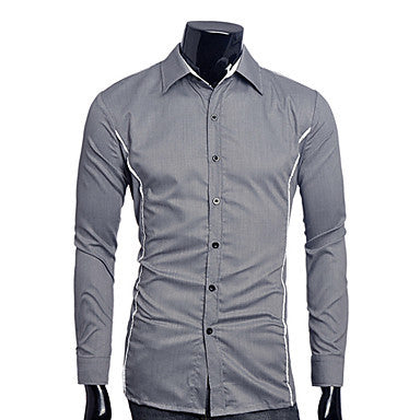 Men's Shirt Collar Contrast Color Slim Shirt