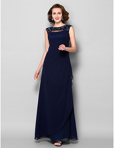 Sheath/Column Bateau Floor-length Georgette Mother of the Bride Dress