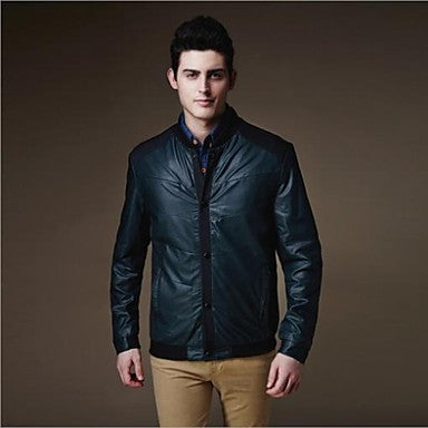 Men's New Korea Style Fashion Stand Collar Slim-fit Long Sleeve PU Casual Leather Jacket