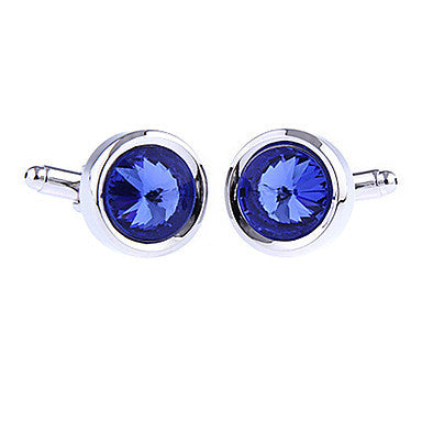 Men's Blue Round Cufflinks(2 PCS)