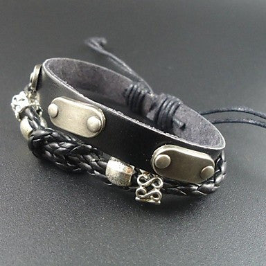 New Trendy Punk Rivet Charms Men Genuine Leather Bracelet
