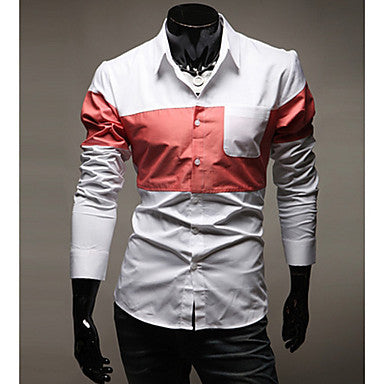 Men's Spring Latest Korean Style Multi Color Splicing Long Sleeve Shirt