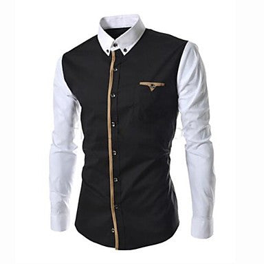 Men's Stand Collar Contrast Color Long Sleeve Shirt