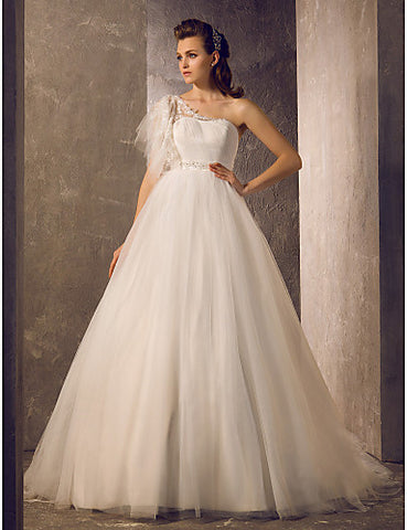 A-line Ball Gown One Shoulder Sweep/Brush Train Tulle Wedding Dress (7