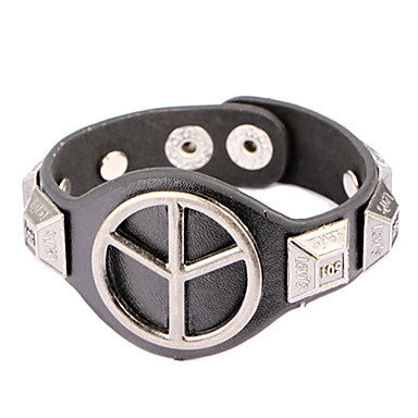 Punk Style Peace Symbol Alloy Leather Bracelet(1 Pc)
