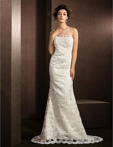 A-line/Princess Jewel Sweep/Brush Train Lace Wedding Dress (2049172)