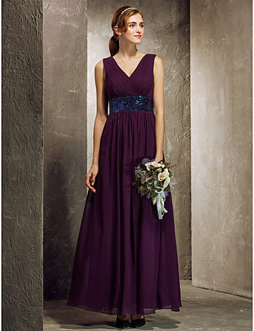 Sheath/Column V-neck Ankle-length Georgette Bridesmaid Dress