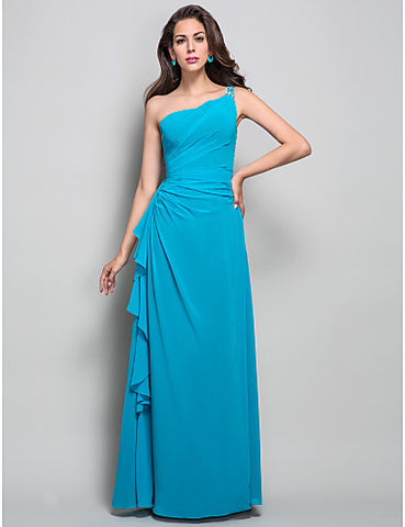 Sheath/Column One Shoulder Floor-length Beading Georgette Bridesmaid Dress