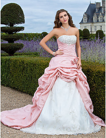 Ball Gown Strapless Court Train Taffeta Organza Evening/Prom Dress