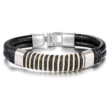 Retro Simplicity Leather Stainless Steel Bracelet (1 Pc)