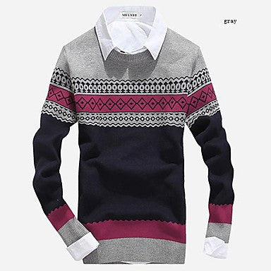Men's Round Collar Casual Slim Geometric Knit Sweater(More Colors)
