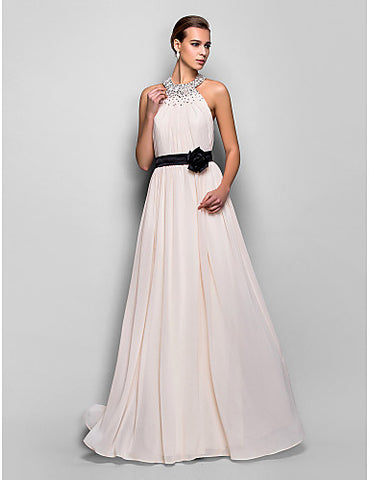 A-line Halter Floor-length Georgette And Stretch Satin Evening Dress