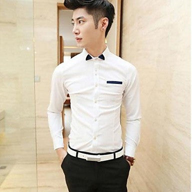 Men's Korean Style Tide And Fashion Long-Sleeved Shirt