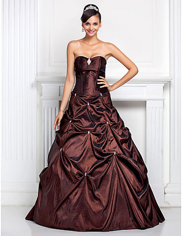 Ball Gown Sweetheart Floor-length Taffeta Evening/Prom Dress With Pick Up Skirt