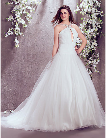 Fit and Flare High Neck Court Train Chiffon And Tulle Wedding Dress