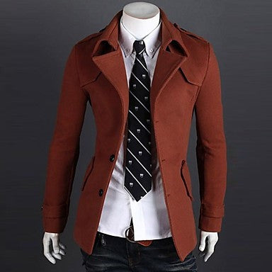 Men's Slim Single breasted Casual Lapel Pure Parka Coat A