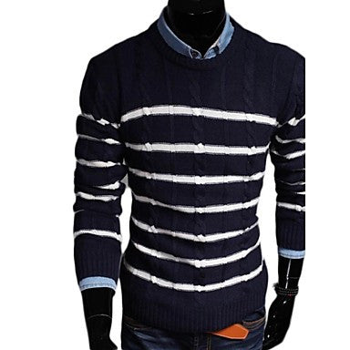 Men's Fashion Stripe Splicing Design Leisure Bottoming Sweaters