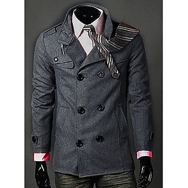 Men's Turndown Collar Woolen Coat
