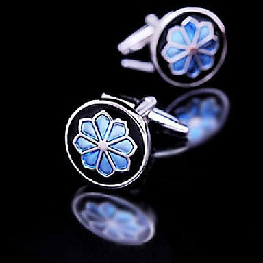 Toonykelly Fashion Men's Silver Enamel Flower Copper Cufflink(Silver)(1 Pair)