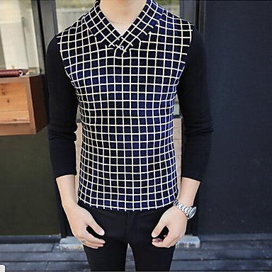 Men's Plaid Bottoming T-shirt