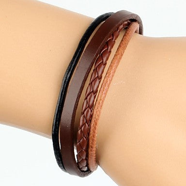 Simple Adjustable Men's Leather Bracelet Very Cool Dark Brown And Black Twist Leather (1 Piece)