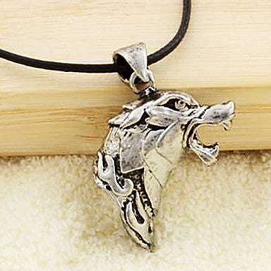 Fashion Wolf Head Black Leather Pendant Necklace (1 Pc)