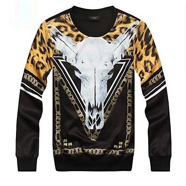 Men's Punk Print Cow Head 3D Sweatshirt