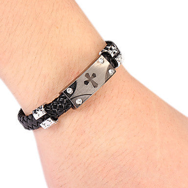 Punk Style Vertical Cross Alloy Leather Bracelet(1 Pc) Leather Color Random