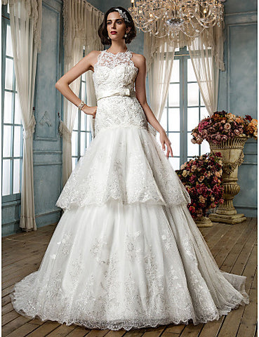 Fit and Flare High Neck Lace And Tulle Wedding Dress