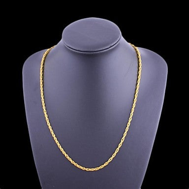 Figaro Chain 60cm Men Golden Gold Plated Chain Necklaces(3.5mm Width)