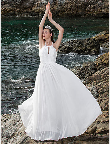 Sheath/Column Halter Floor-length Chiffon Wedding Dress (710791)