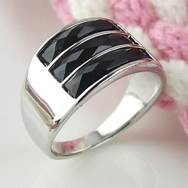 Fashion Contracted Alloy Crystal Men's Ring