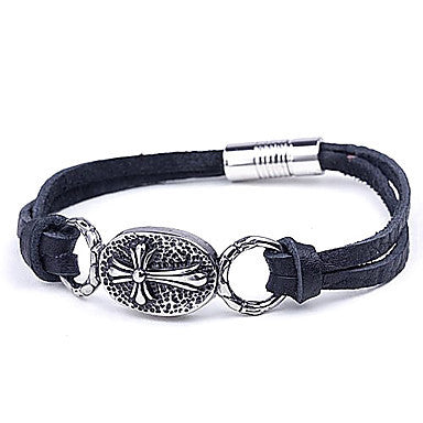 Mumar Fshionable Jewelry Skull Shapes Leather Rope Wrap Stainless Steel Bracelets