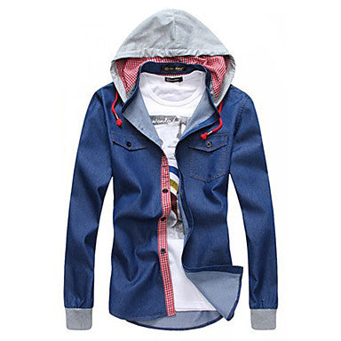 Men's Hoodie Two Piece Like Casual Long Sleeve Korea Style Shirt