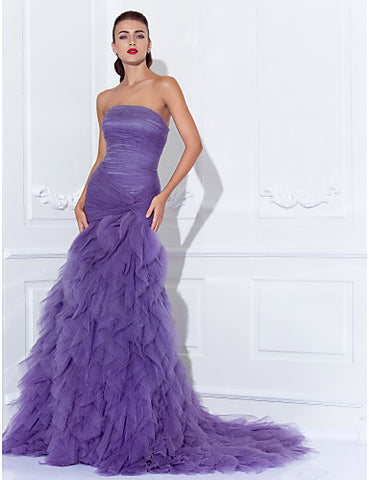 Trumpet/Mermaid Strapless Court Train Tulle Evening/Prom Dress With Cascading Ruffles