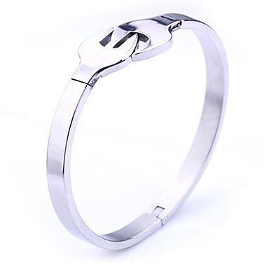 Mumar Fashion Personalized Gift Handle Shaps Stainless Steel Jewelry Cuff Bracelets 0.6cm Width