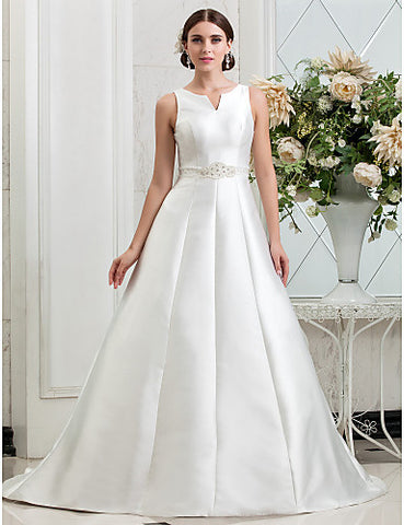 A-line Princess V-neck Chapel Train Beading Satin Wedding Dress