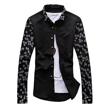 Men's Personality Sleeves Embroidered Shirt With Long Sleeves