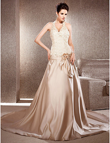 A-line V-neck Chapel Train Satin And Lace Wedding Dress