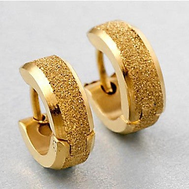 Men's Personality Grind Arenaceous Gold Titanium Steel Earrings