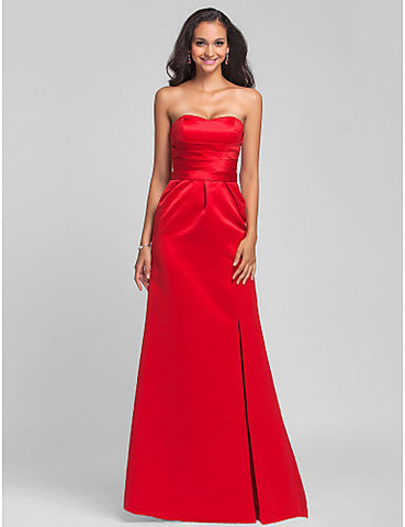 Bridesmaid Dress Sweep Brush Satin Sheath Column Sweetheart Dress