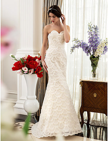 Trumpet/Mermaid Sweetheart Sweep/Brush Train Satin and Lace Wedding Dress