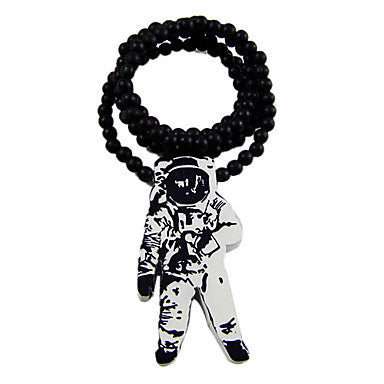 Astronaut Pattern Wooden Necklace