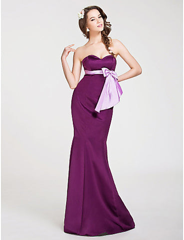 Bridesmaid Dress Floor Length Satin Trumpet Mermaid Sweetheart With Bows