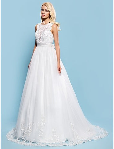 Wedding Dress Ball Gown Court Train Tulle Bateau Bridal Gown With Removable Sash