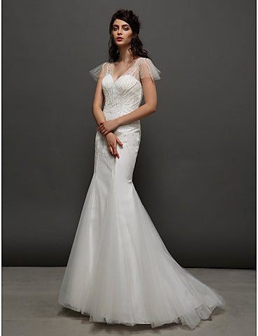 Trumpet/Mermaid V-neck Court Train Tulle Wedding Dress (2463423)