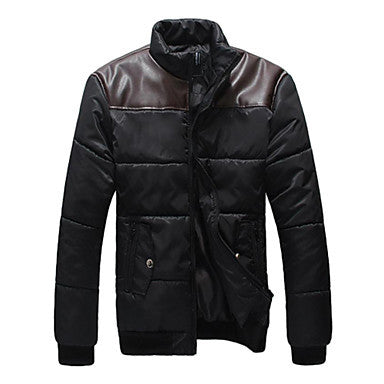 Men's New PU Fight Skin Cotton-padded Coat
