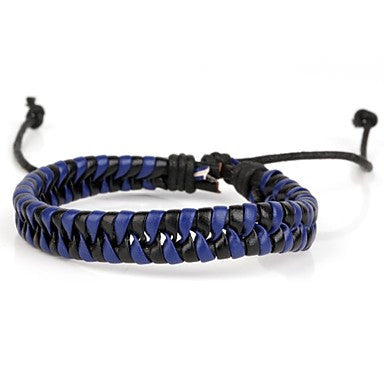 Comfortable Adjustable Men's Leather Cool Hard Bracelet Dark Blue And Black Braided Leather(1 Piece)