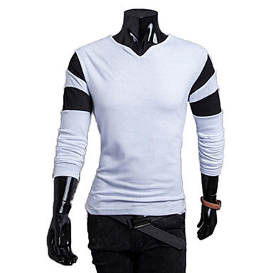 Men's Splicing Sleeve Hitting Scene Clipping Multi-colorCollar Design Male Model Long Sleeve T-shirt